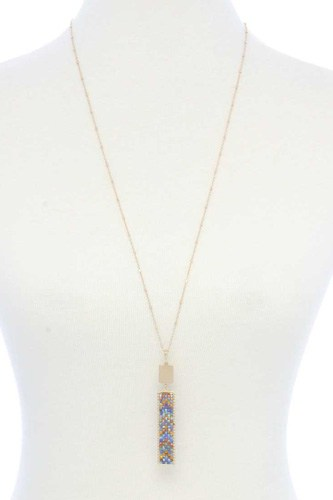 Long Rectangular Shape Beaded Pendant Necklace