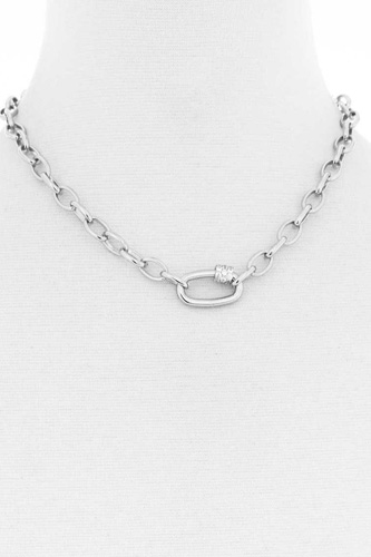 Modern Oval Single Chunky Rhinestone Chain Link Necklace