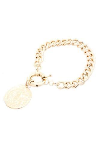 Metal Round Charm Link Chain Bracelet