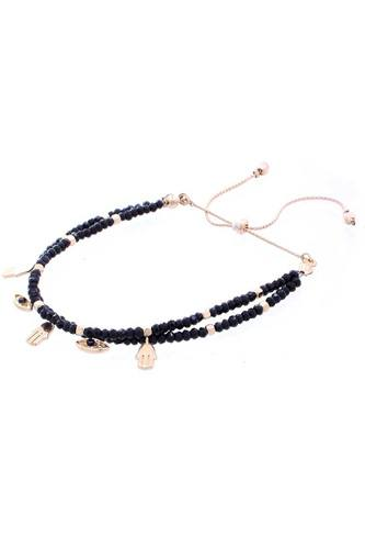 Hamsa Charm Glass Bead Bracelet