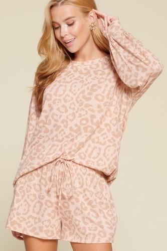 Leopard Printed Knit Loungewear Set