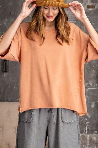 3/4 Slvs Mineral Washed Terry Knit Boxy Top