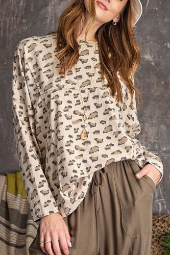 Leopard Printed Garment Dye Loose Fit Knit Top