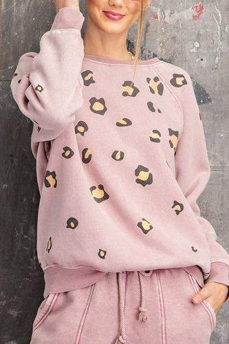 Long Sleeve Leopard Print Washed Terry Sweatshirt
