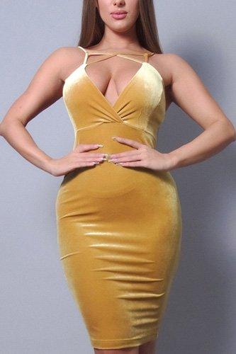 Sexy Spaghetti Strap Crossover Front Velvet Bodycon Dress