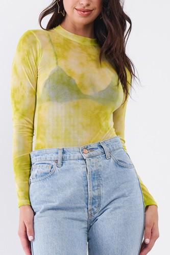 Neon Green Sexy Sheer Mesh Long Sleeve Mock Neck Bodysuit
