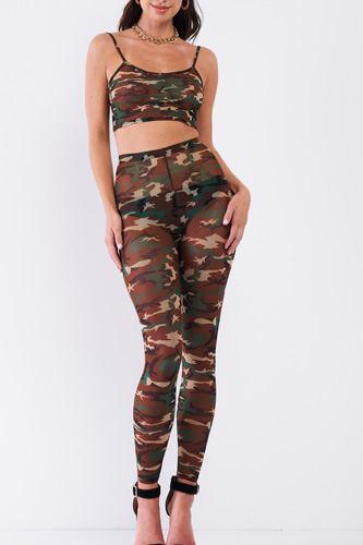 Sexy Sheer Mesh Sleeveless Crop Top & High Waist Legging Set