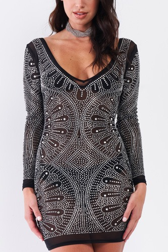 Rhinestone Studded Sheer Mesh Deep V-neck Long Sleeve Bodycon Dress