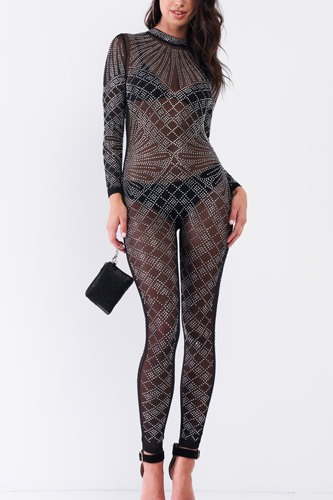 Sexy Rhinestone Mesh Long Sleeve Mock Neck Bodycon Jumpsuit