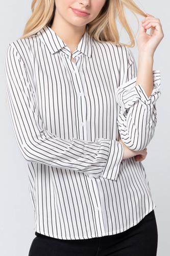 3/4 Roll Up Slv Stripe Print Shirt