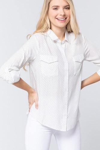3/4 Roll Up Slv Dot Print Shirt