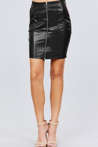 Pu Leather Mini Skirt W/zipper