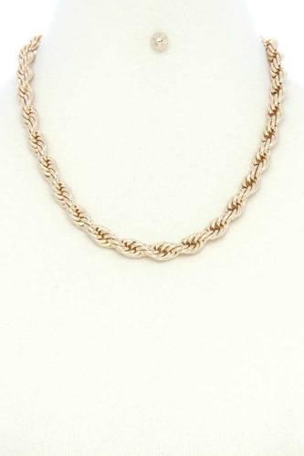 Twist Chain Simple Short Metal Necklace Earring Set