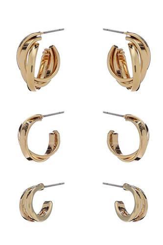 Basic Metal Mini Hoop 3 Pair Earring Set