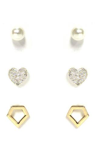Pearl And Metal Stud Earring 3 Pair Set