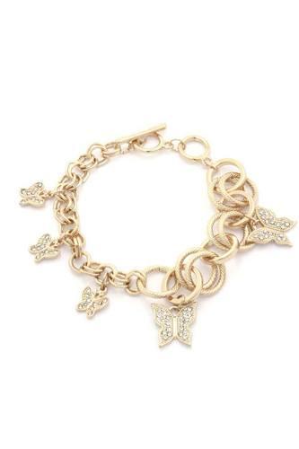 Rhintstone Encrusted Butterfly Circle Link Metal Bracelet