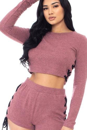 Color Contrast Lace Up Side Shorts Set