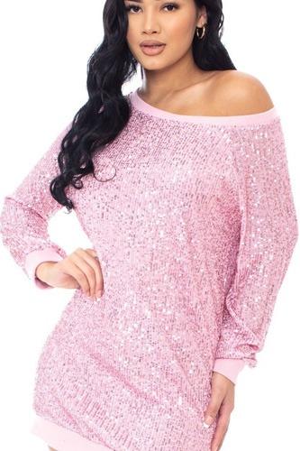 Sequin Wide Neck Boxy Mini Dress