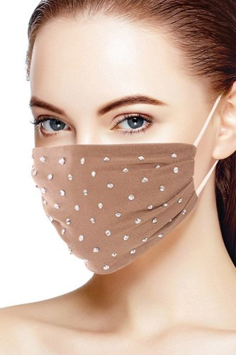 3d Shiny Silver Rhinestone Fashion Mesh Face Mask