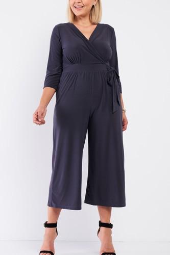 Plus Dark Grey Plunging V-neck Midi Sleeve Self-tie Waist Detail Wide Leg Midi Jumpsuit