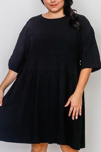 Plus Size Black Tie Sleeve Loose Midi Dress