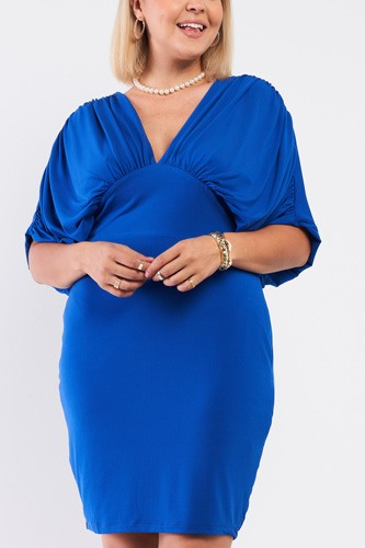 Plus Royal Blue Ruched Short Sleeve V-neck Empire Waist Mini Dress