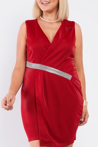 Sleeveless V-neck Asymmetrical Wrap Rhinestones Detail Fitted Mini Blazer Dress