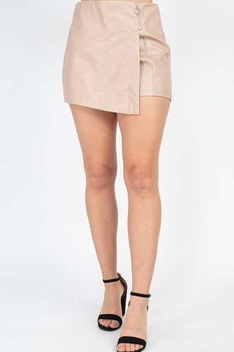 Zipper Trim Sheeny Mini Skirt