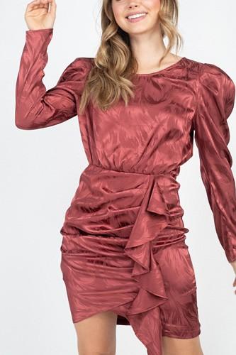 Ruching Front Wrap Mini Dress