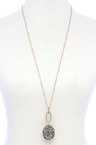 Faux Stone Metallic Edge Screw Lock Pendant Necklace