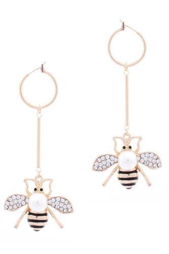 Mini Hoop Queen Bee Dangle Metal Bar Earring