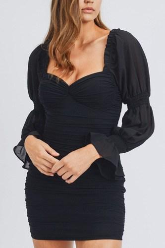 Long Puff Sleeve Ruched Mini Dress