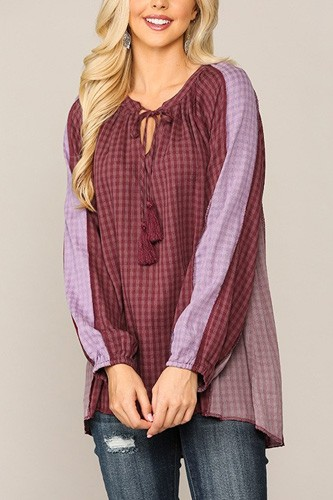 Textured Color Mixed Tassel Tie Peasant Top With Reverse Stitch Detail