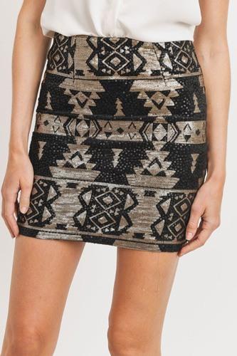 Sequence Pattern Mini Skirt