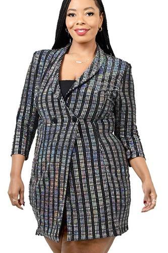 Plus Metallic Stripe Jacket Dress
