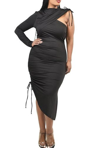 Plus One Sleeve Asymmetric Dress