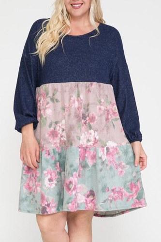 Floral Contrast Shirring Babydoll Dress