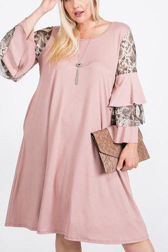 Mixed Ruffle Sleeve With Hidden Pocket A Line Dress