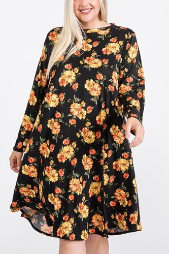 Floral Mock Neck Hidden Pocket Round Hem Midi Dress