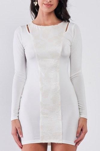 White Sequined Center Front Detail Long Sleeve Mini Dress