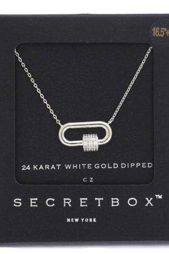 Secret Box Rhinestone Cube Oval Ring Pendant Necklace