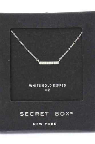 Secret Box Cubic Zirconia Bar Necklace