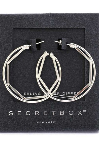 Secret Box Hexagon Shape Open Circle Earring