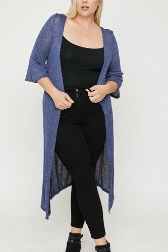 Plus Size Two Tone Knit Cardigan
