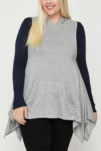 Plus Size Two Tone Knit, Sleeveless Top