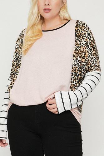 Plus Size Cheetah Print  Long Sleeve Top