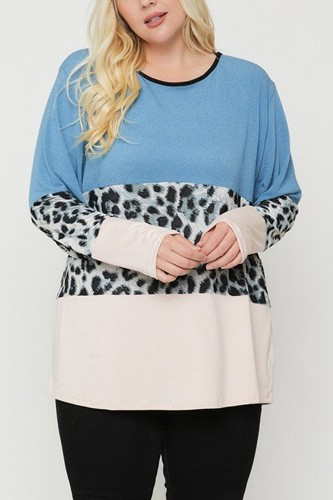 Plus Size Color Block Top Featuring A Leopard Print Top