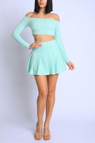 Off Shoulder, Skater Skirt Set