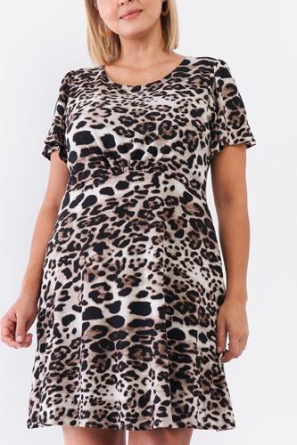 Leopard Print Back Self-tie Neck Detail Babydoll Cut Mini Dress