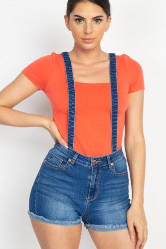 Cross Back Denim Suspender Shorts (woven)